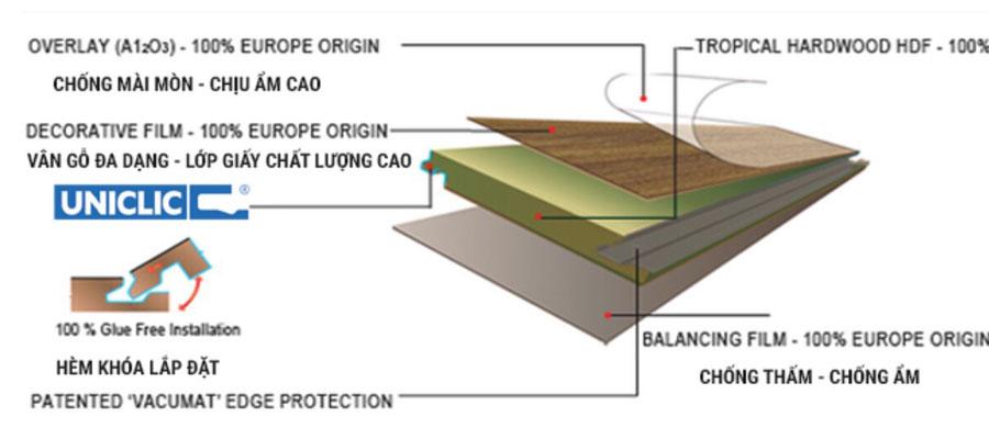 Cấu tạo sàn gỗ công nghiệp Việt Nam
