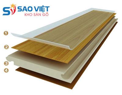 Cấu tạo của sàn nhựa vân gỗ gồm 4 lớp