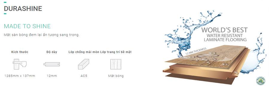 Sàn gỗ Inovar dày 12mm bản nhỏ - Mặt bóng - Ký hiệu DV