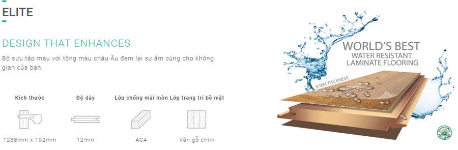 Sàn gỗ Inovar dày 8mm - Cạnh U - Ký hiệu ET