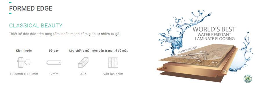 Sàn gỗ Inovar dày 12mm bản nhỏ - Ký hiệu FE