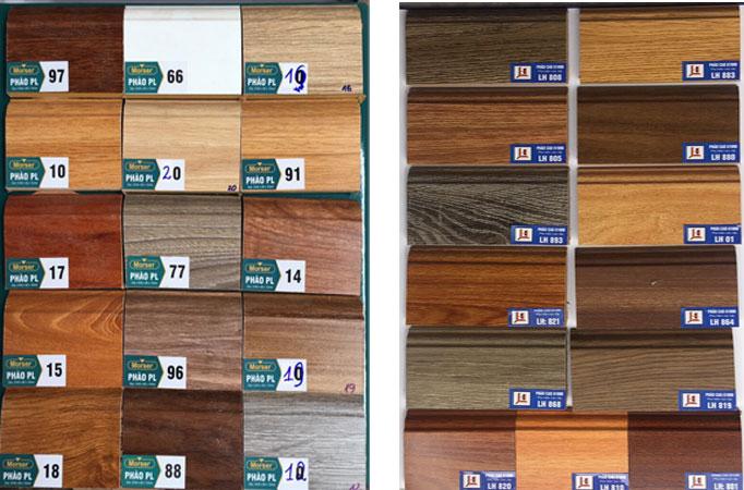 Bảng màu các mã phào gỗ chân tường Laminate